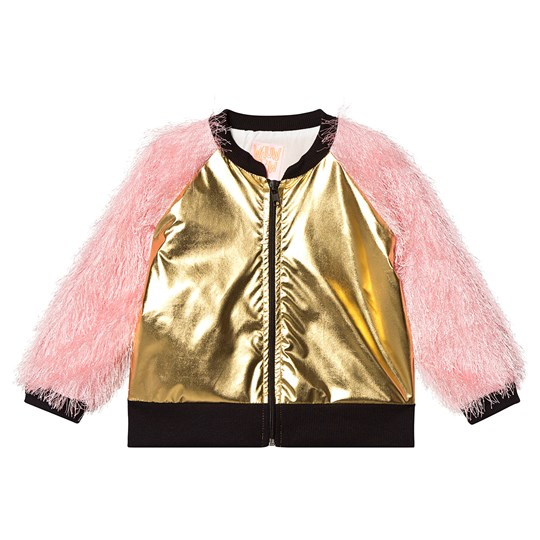 Wauw Capow Bomber Jacket Fluffy Sleeves Gold/Pink GOLD AND PINK