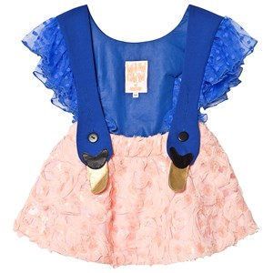 Image of Wauw Capow Bird Dress Frill Blue/Peach 1-2 years (3125356323)