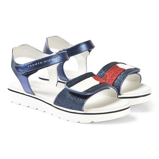 Tommy Hilfiger Navy, Red and White Stripe Sandals 800