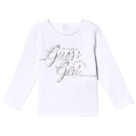 Guess White Branded Long Sleeve Baby Tee TWHT