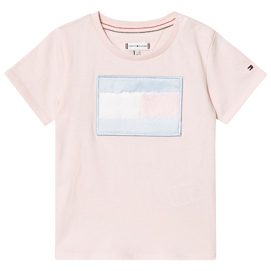 Tommy Hilfiger Pale Pink Faux Fur Flag Tee 617