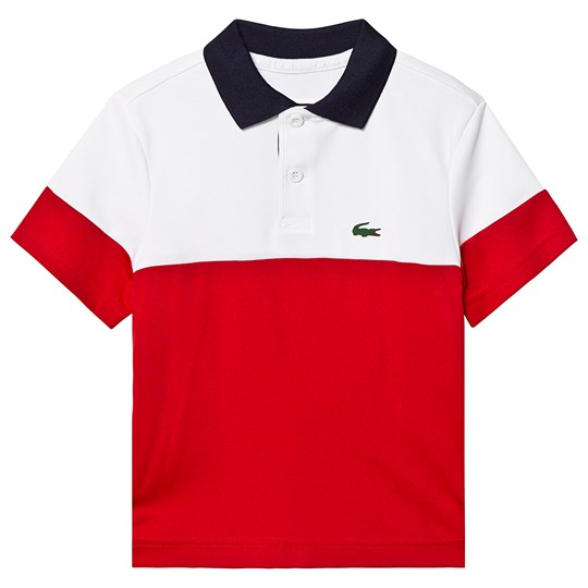 Lacoste Red Colorblock Branded Tennis Polo ZK5