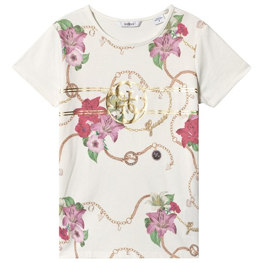 Guess White Floral Logo Tee PV37
