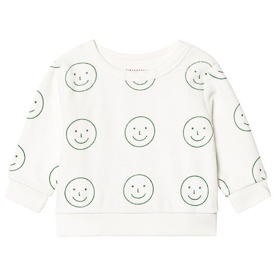 Tinycottons Happy Face Sweatshirt Off White/Deep Green off-white/deep green