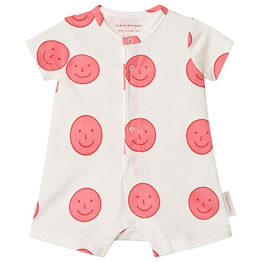 Tinycottons Happy Face Relaxed Romper Off White/Rose off-white/rose