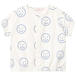 Tinycottons Happy Face Blouse Off White/Ultramarine
