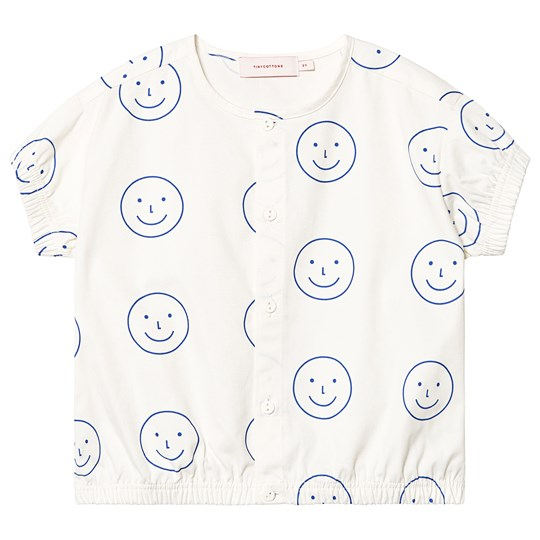 Tinycottons Happy Face Blus Off White/Ultramarine off-white/ultramarine