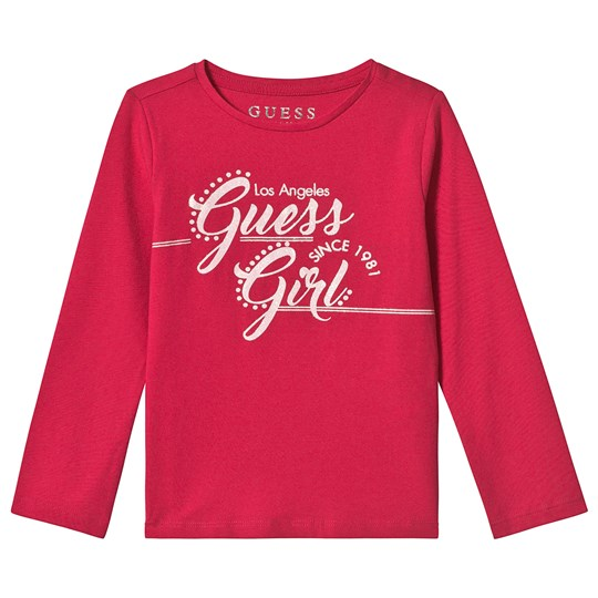 Guess Pink Branded Long Sleeve Tee ELRS
