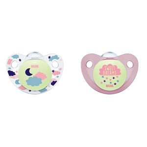 Image of NUK Napp, Night & Day, Glow in the dark, Strl 2, Silikon, 2-pack, Röd (3139762237)