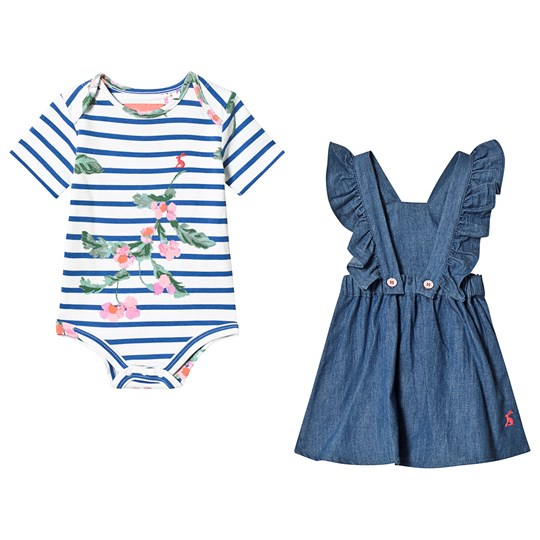 Tom Joule Blue Jumper and Floral Baby Body Set Chambray
