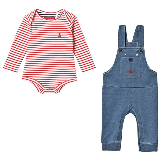 Tom Joule Randig Baby Body Röd och Hängeslbyxor Set Denim bear Dungaree