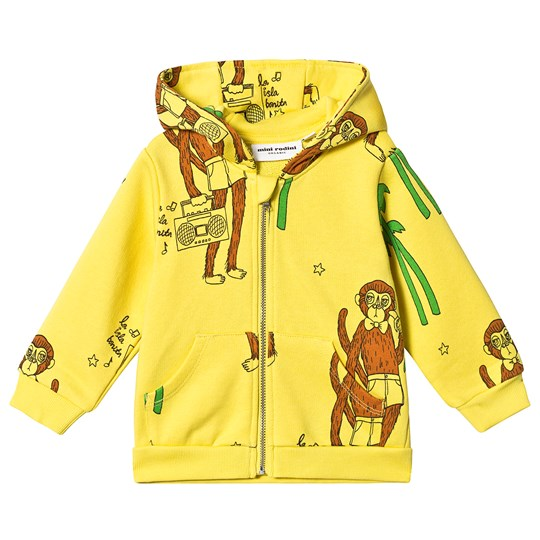 Mini Rodini Cool Monkey Zip Hoodie Yellow Yellow