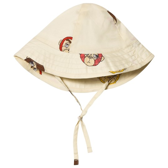Mini Rodini Monkey Sun Hat Off White White