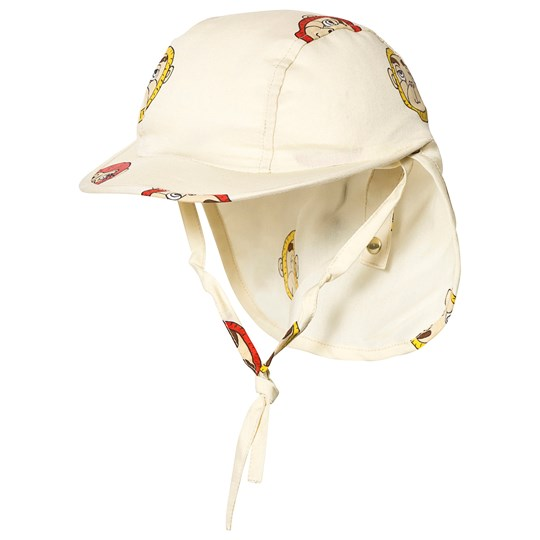 Mini Rodini Monkey Sun Cap Off White Hvid