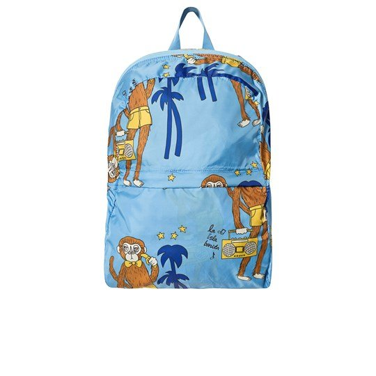 Mini Rodini Cool Monkey Lightweight Backpack Light Blue Light Blue