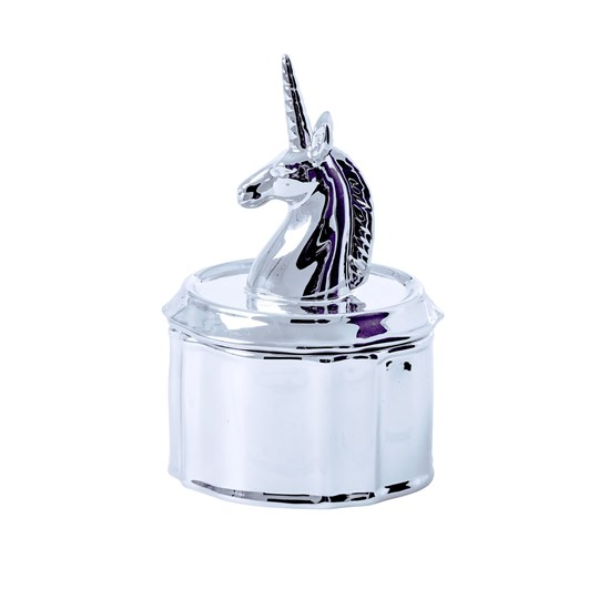 Rice Unicorn Porcelain Jewelry Box Silver Silver
