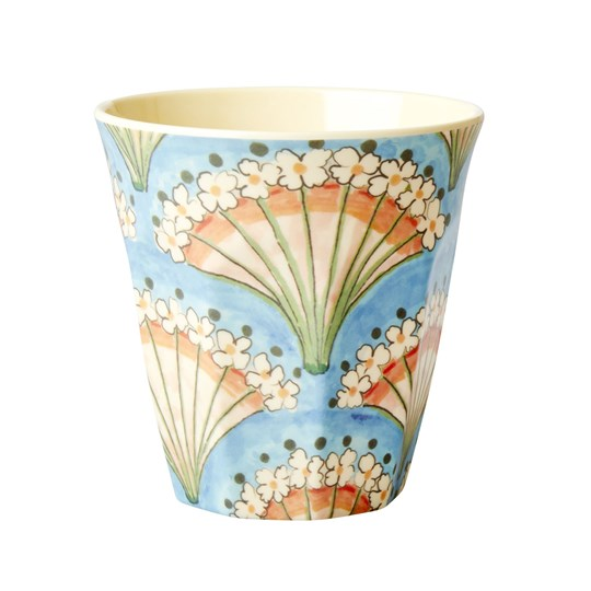 Rice Medium Melamine Cup Flower Fan Print blue, coral