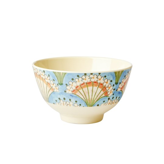 Rice Small Melamine Bowl Flower Fan Print blue, coral