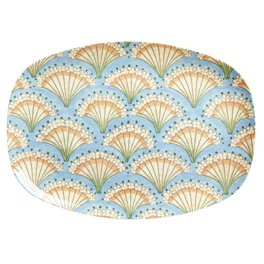 Rice Large Rectangular Melamine Plate Flower Fan Print blue, coral