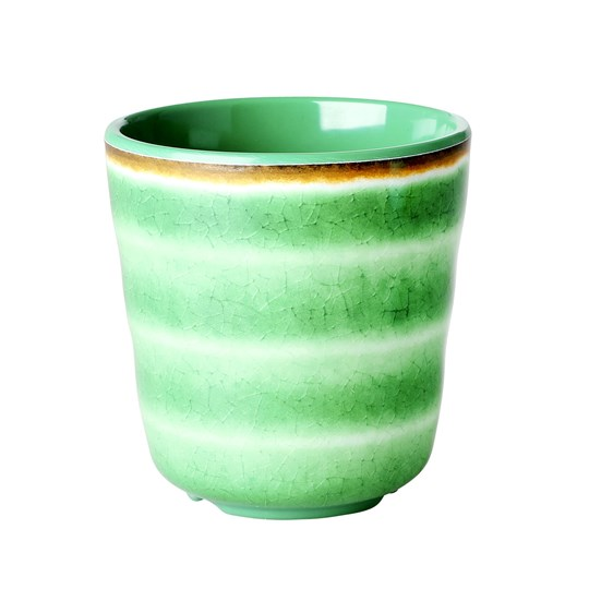Rice Melamine Cup Green Swirl Green
