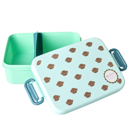 Rice Large Lunchbox with Divider Monkey Print mint, brown