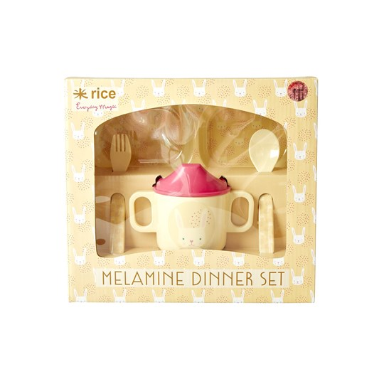Rice Melamine Baby Dinner Set Rabbit Print cream, pink