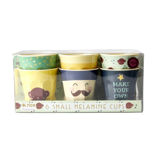 Rice 6-Pack Small Melamine Cups Monkey Prints mint, brown