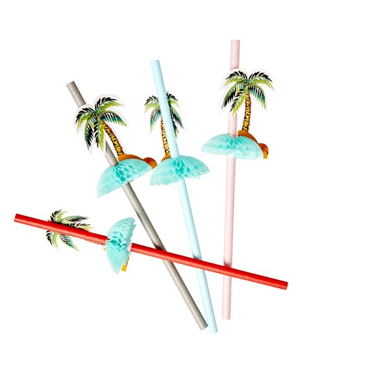 Rice 8-Pack Palm Island Paper Straws Red/Green