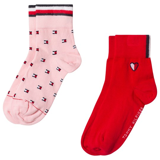 Tommy Hilfiger Red and Pink Flag Socks 2-Pack pink combo