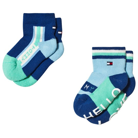 Tommy Hilfiger Green and Blue Hello Love Socks 2-Pack blue combo