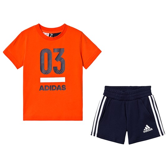 adidas Performance Orange/Black 03 Tee Shorts Set active orange/collegiate navy