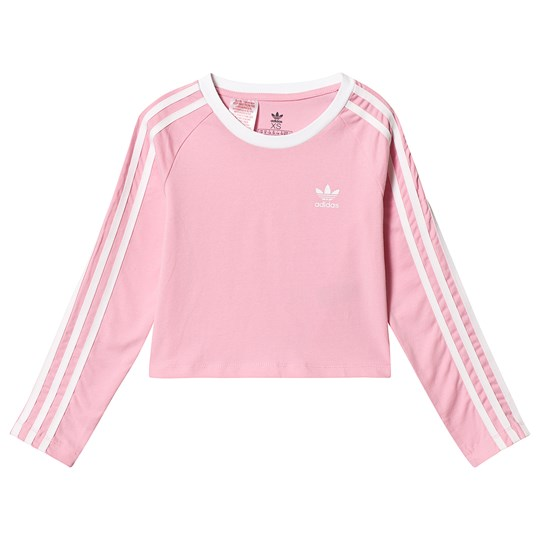 adidas Originals Light Pink Branded Long Sleeve Cropped Tee Light Pink/White