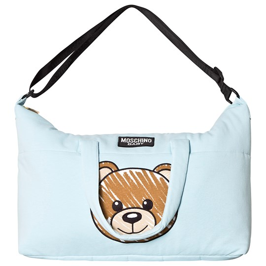 Moschino Kid-Teen Pale Blue Bear Print Changing Bag and Mat 40304