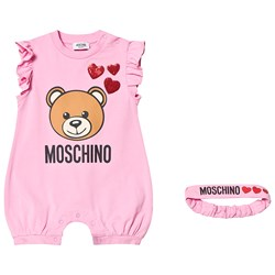 Moschino Kid-Teen Pink Bear Print and Sequin Heart Jersey Romper and Headband in Gift Box