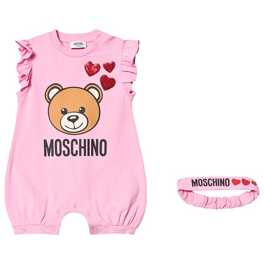 Moschino Kid-Teen Pink Bear Print and Sequin Heart Jersey Romper and Headband in Gift Box 52470