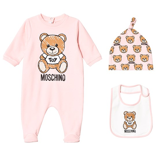 58c583eaca7 Moschino Kid-Teen - Pink Bear Branded Footed Baby Body