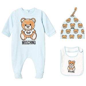 Image of Moschino Kid-Teen Blue Bear Branded Footed Baby Body, Hat and Bib Gift Box 3-6 months (3125292227)