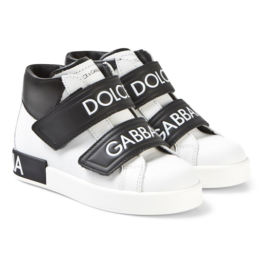 Dolce & Gabbana White and Black High Top Sneakers 8B926