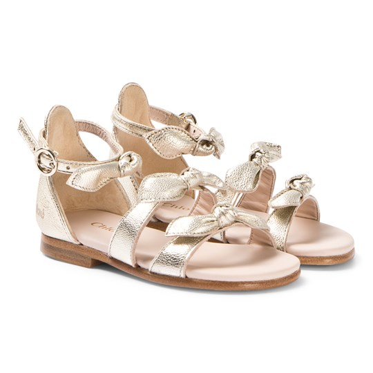 Chloé Gold Leather Bow Sandals 593