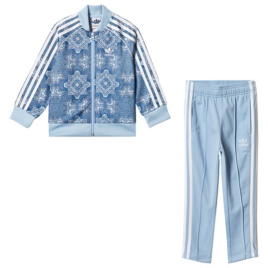 adidas Originals Culture Clash Branded Tracksuit Blue Top:MULTICOLOR/clear sky/white Bottom:CLEAR SKY/WH
