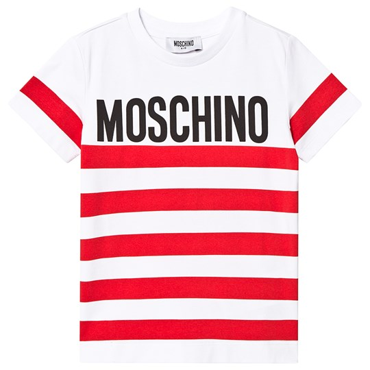 Moschino Kid-Teen Red Stripe Logo Tee 85005