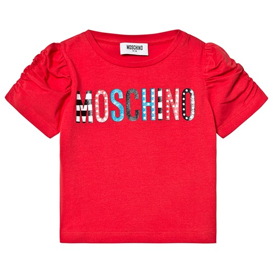 Moschino Kid-Teen Red Multi Color Branded Puff Sleeve Tee 50316