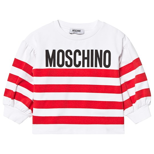 Moschino Kid-Teen Red Stripe Logo Puff Sleeve Tee 85005
