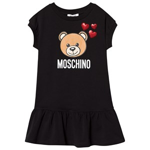 Image of Moschino Kid-Teen Black Bear Print and Sequin Heart Jersey Dress 10 years (3125290283)