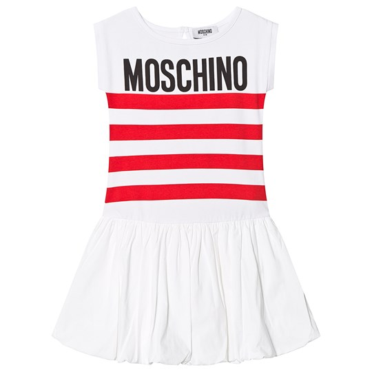 Moschino Kid-Teen White and Red Logo Puff Skirt Dress 85005