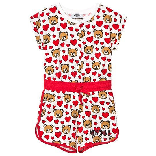 Moschino Kid-Teen White Bear and Heart Print Romper 84007