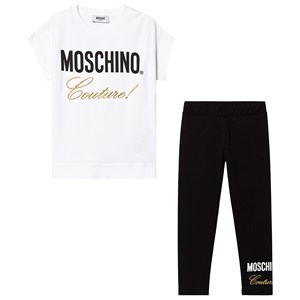 Image of Moschino Kid-Teen Black Couture Tee and Leggings 10 years (3125303343)