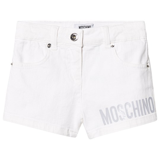 Moschino Kid-Teen White Branded Denim Shorts 10101