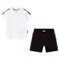 35a7e5afa Moschino Kid-Teen White Branded Tape Polo and Shorts Set 81214