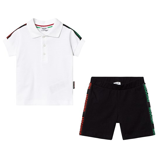 Moschino Kid-Teen White Branded Tape Polo and Shorts Set 81214